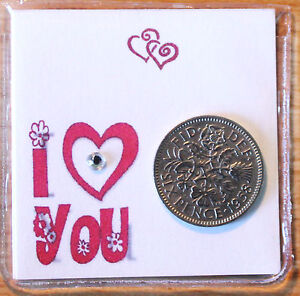 LUCKY SIXPENCE COIN KEEPSAKE GIFT TO SAY I LOVE YOU VALENTINES ETC