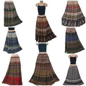 Boho Maxi Skirt Crinkle Ethnic Lightweight Summer Printed 10 12 14 16 18 20