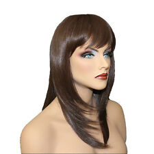 Classic Cap women Synthetic Straight Long Copper Brown full wig HengFeng MLW32