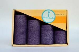 Purple Wax Pillar Candles Dining Table Decor Set of 3 R Wellness
