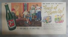 7-Up Ad: Fresh Up With Seven-Up! Rec Room ! from 1940's  7.5 x 15 inches