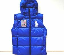 New Ralph Lauren Polo Big Pony USA Winter sport Blue Hooded Puffer Down Vest XXL