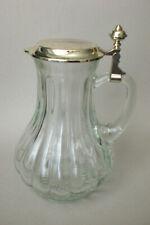 Kalte Ente, Glaskrug mit Metallarmatur, versilbert, antik