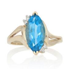 Yellow Gold Blue Topaz & Diamond Ring - 10k Marquise Cut 3.44ctw Bypass