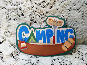 Camping title paper piecing Premade Scrapbook Pages