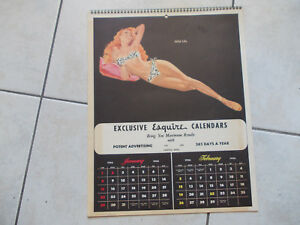 RARE Calendrier pin-up ESQUIRE americain DE 1956 6 PAGES