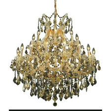 24 LIGHT GOLD & GOLDEN TEAK CRYSTAL CHANDELIER DINING LIVING ROOM FOYER BEDROOM