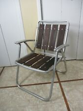 Vintage Aluminum Red Wood Slats Folding Patio Lawn Chair  -Nice & Sturdy Chair-