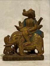 Ancient Marble Stone Hand Carved Gold Paint Hindu God Vishnu Varah Sculpture