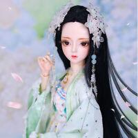 1/3 BJD Puppe 60cm Mädchen Mit Gesicht Make-up Augen Perücke Kleidung Spielzeug