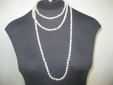 Womens white Necklace Beads 31'' folded