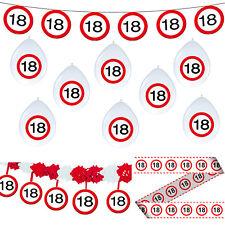 Deko Set 18. Geburtstag Party Dekoration Verkehrsschild Girlanden Luftballons