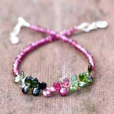 Natural Garnet and Tourmaline Bracelet Solid 14K White Gold , January Birthstone
