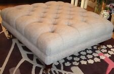Large Deep Buttoned Footstool Stool In Laura Ashley Wootton Steel Fabric