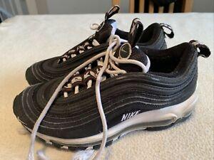 Women's Boys Nike Air Max 97 Triple Black Trainers Size Uk 3