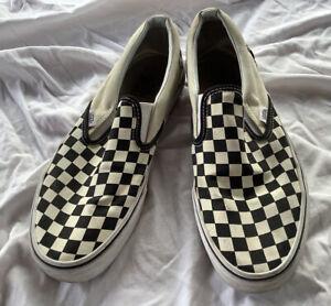 Vans Black White Checkerboard Slip On Shoes Skate Surf Mens 11