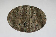 Patchwork Orient Teppich Vintage Rund modern braun 165 cm handgeknüpft 836