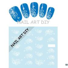 Adesivi per unghie FIORI bianchi con Pizzo-Stickers-nail art water transfer!