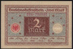 1920 2 Mark Germany Old Vintage Paper Money Banknote Currency Antique Note UNC