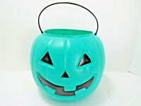 Teal  Pumpkin Candy Treat Bucket Pail Blue Blow Mold Jack O Lantern Halloween