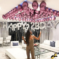 "50x Solid Metallic Balloons Chrome Shiny Latex 12"" For Wedding Party Baby"