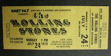 The ROLLING STONES Anaheim Stadium 1978 US ORG CONCERT Ticket UNUSED Minty!