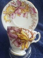 Bell China. English.Fine Bone China Teacup And Saucer. (Orchids) Bold & Bright