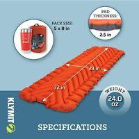 Klymit Insulated Static V Lightweight Sleeping Camping Pad - Certified Refurbish