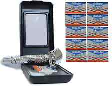 New Silver Safety Razor + 10 Wilkinson Sword Blades Mens Boxed Gift Classic