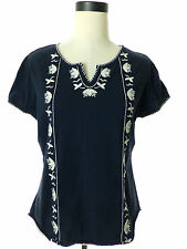 St JOHNS BAY Womens Embroidered Peasant Blouse/Top Blue Large