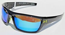 UNDER ARMOUR Assert Sunglasses Shiny Black/Blue Mirror NEW Sport/Cycle $100