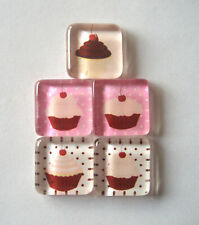 So Oh Fun Cupcakes Themed Square Glass Magnets Set of 5