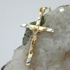 375 Goldkreuz Goldanhänger Kreuzanhänger Anhänger, Kreuz-Jesus bicolor 9Kt GOLD