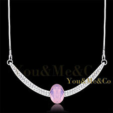 Oval Cut Crystal Necklace 18K White Gold Ep 2.75ct