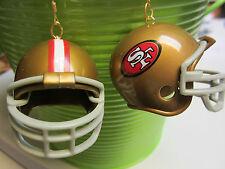 NORA WINN UNIQUE BIG Clip On EARRINGS NFL FOOTBALL  HELMET SAN FRANCISCO 49 ERS