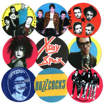 9 PUNK  BADGES. CLASH, DAMNED, SEX PISTOLS, BUZZCOCKS, X-RAY SPEX, JAM, RAMONES.