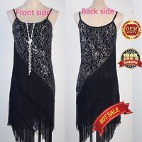 AU 20's Flapper Carneval Party Club Great Gatsby Sequin Tassel Black Gold Dress