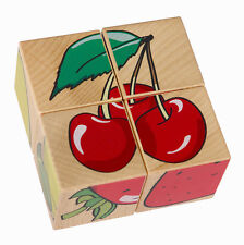 Pictures Cube Wooden Puzzle - Fruits • Ecological PILCH Toy 2yrs
