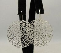 New Sterling Silver Earrings Solid 925 Big Filigree Flower Handmade Empres