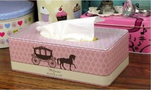 Pink Princess Carriage And Horse Pattern Tissue Tray Cover Box Holder