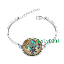 Fleur de Lis glass cabochon Tibet silver bangle bracelets wholesale