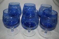 SIX Vintage BLUE Cut to Clear Crystal COGNAC SNIFTER Goblet Germany shot glass
