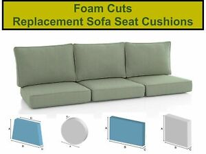 SOFA CUSHIONS - BEDS - OUTDOOR HQ SEATING FOAM CUT TO SIZE ANY SHAPE / THICKNESS