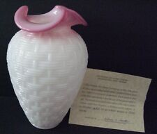 Ltd Ed Fenton Glass Connoisseur Collection Rosaline Basketweave Vase W Paperwork