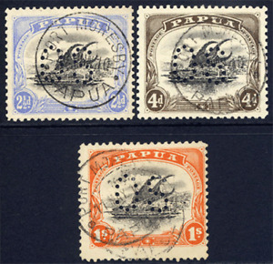 PAPUA 1908-10 LAKATOI OFFICIAL 2½D, 4D & 1/- GOOD TO SUPERB CDS USED EXAMPLES
