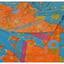 Sanskriti Vintage Orange Saree Moss Crepe Printed Sari Soft 5 Yd Craft Fabric
