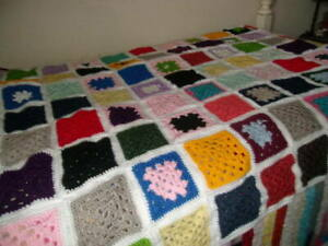Afghan--Multicolor 46 inch x 62 inch-Hand Crocheted--White Trim
