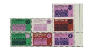 1971 Australian Hinged Christmas Selvage Stamps Block 7x7c Colour variety issues