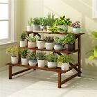 3 Tier Wide Long Wood Plant Stand Flower Holder Display Step Ladder Rack Shelves