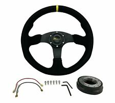 Universal Suede Steering Wheel Euro JDM + Low Profile Quick Release Hub Adapter